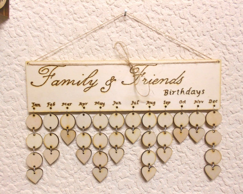 Wood Birthday Anniversary Reminder Board Birch ply plaque Sign Family /& Friends