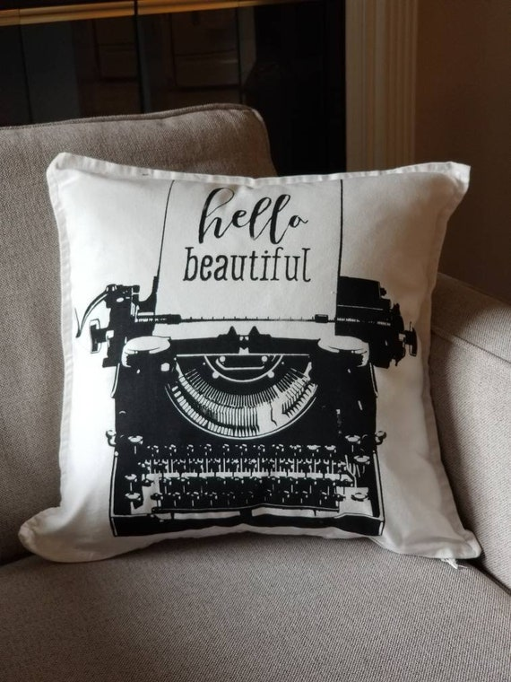 Farmhouse Chic Decorative Pillow Vintage Typewriter Pillow Etsy Magnificent Cottage Style Decorative Pillows