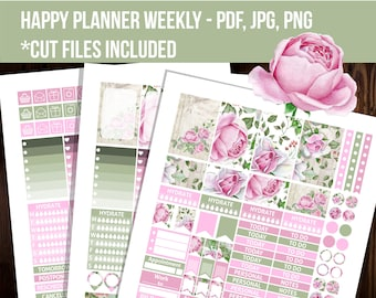Roses are Pink Happy planner Weekly kit, Decorative planner stickers, Mambi stickers, Cut files, Floral planner sticker-STHP008
