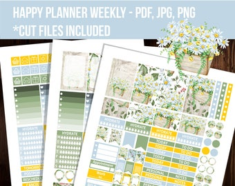 Chamomiles Happy planner stickers, Weekly kit, Cut files, Floral stickers, Printable planner stickers, Mambi stickers - STHP011