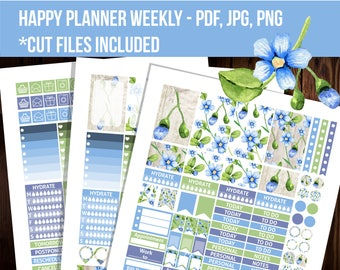 Berries Happy planner stickers, Weekly kit, Cut files, Floral stickers, Watercolor printable stickers, Mambi stickers - STHP024