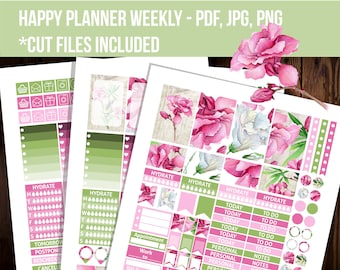 Happy planner stickers, Oleander planner stickers, Weekly kit, Floral stickers, Printable stickers, Mambi sticker STHP012