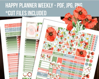 Poopy and chamomiles Happy planner stickers, Floral stickers, Weekly kit, Cut files, Printable stickers, Mambi sticker -STHP015
