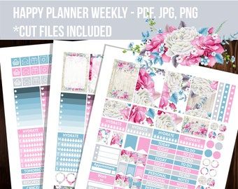 Watercolor Happy planner stickers, Weekly kit, Floral stickers, Mambi stickers, printable stickers - STHP013