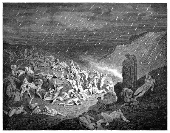 Violent Against God Dante S Inferno Engraving By Gustave Dore Original Engraving From The Dore Gallery Edmund Ollier 1870