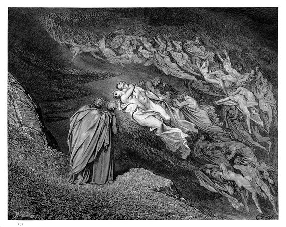 Dantes Inferno Engraving By Gustave Dore Original Engraving From The Dore Gallery Edmund Ollier 1870