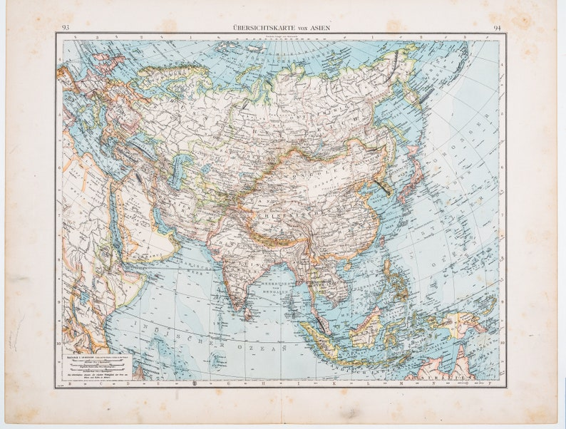 Big Map Of Asia.Map Of Asia Color Map Original German World Atlas 1896 Big 22 5 X17 5 In