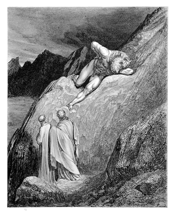 Minotaur Dante S Inferno Engraving By Gustave Dore Original Engraving From The Dore Gallery Edmund Ollier 1870