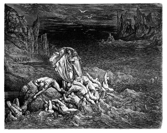 Stygian Lake In The Fifth Circle Of Hell Dante S Inferno Engraving By Dore Original Engraving From The Dore Gallery Edmund Ollier 1870