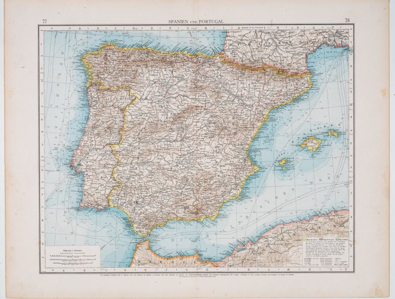 Map Of Germany To Spain.Map Of Spain Color Map Original German World Atlas 1896 Big 22 5 X17 5 In