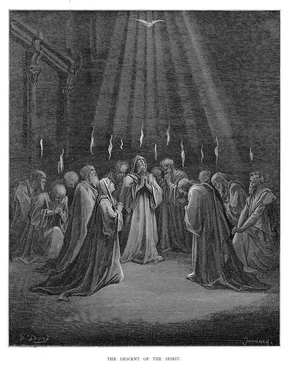 The descent of the spirit engraving by Gustave Doré Original engraving from