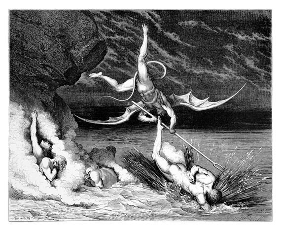 Alichino Attacking Ciampolo Dante S Inferno Engraving By Dore Original Engraving From The Dore Gallery Edmund Ollier 1870