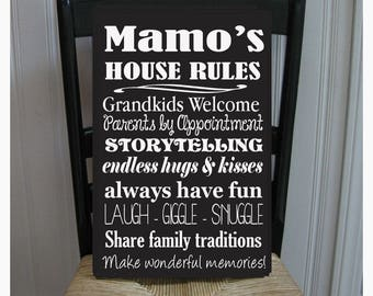Mamo's House Rules for Grandchildren with love Grandparents  Handpainted Wood Sign 16 x 10.5