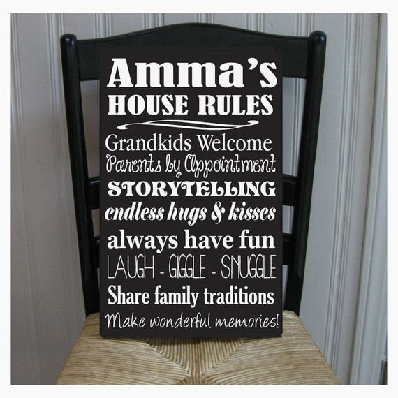 Omas Gray House Rules for Grandchildren with Love Grandmother Handprinted Wood Sign 16 x 25