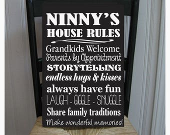 Ninny's House Rules for Grandchildren with love Grandparents  Handpainted Wood Sign 16 x 10.5