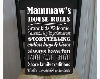 Mammaw's House Rules for Grandchildren with love Grandparents  Handpainted Wood Sign 16 x 10.5