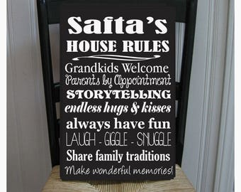 Safta's House Rules for Grandchildren with love Grandparents  Handpainted Wood Sign 16 x 10.5