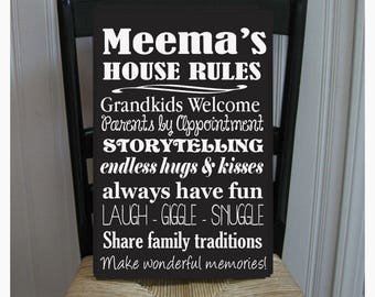 Meema's House Rules for Grandchildren with love Grandparents  Handpainted Wood Sign 16 x 10.5