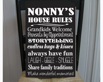 Nonny's House Rules for Grandchildren with love Grandparents  Handpainted Wood Sign 16 x 10.5