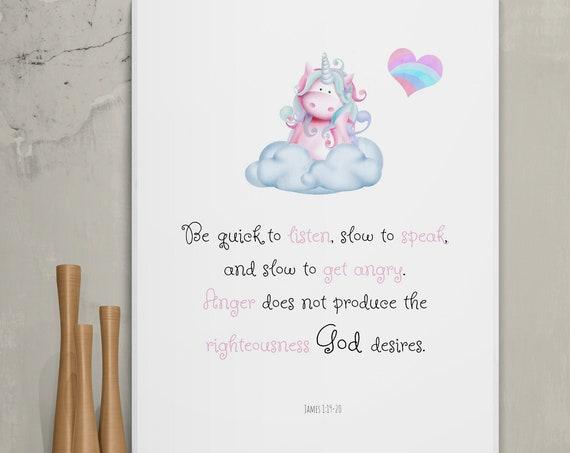Children room bible verse, girl room wall decor, wall art, scripture sign, James 1:19-20, be quick to listen, unicorn, INSTANT print.