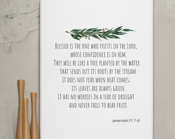 Jeremiah 17: 7-8 Print, blessed is the one who trusts, Digital download, Bible Verse Printable, Scripture Art, INSTANT DOWNLOAD, Eucalyptus.