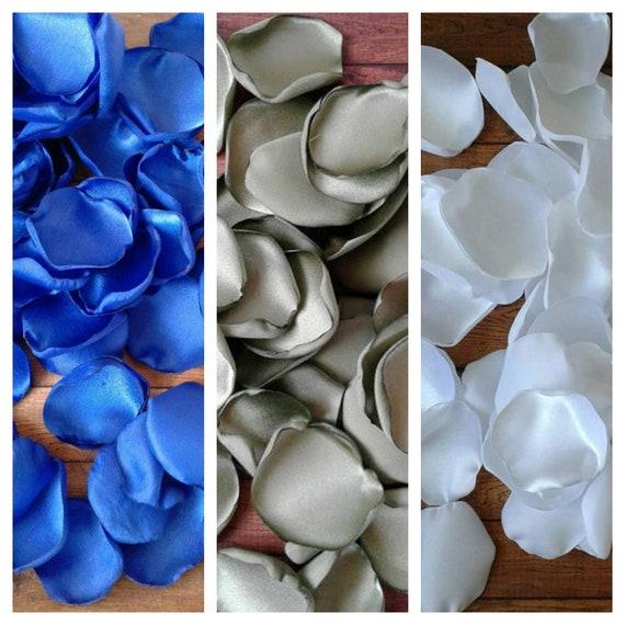 Royal blue and sage wedding decor, wedding flowers, table decor, flower girl baskets, wedding cake decor, party decor, aisle runner decor.