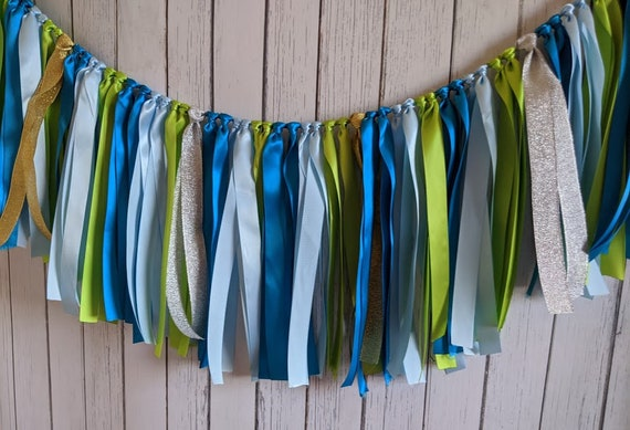 Space party,Green Blue Silver garland, wedding ribbon banner, ribbon banner, ribbon garland, ribbon backdrop,baby boy shower, party garland.