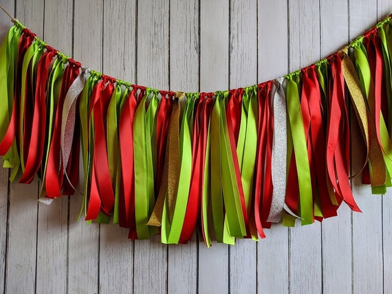 Apple Green and Red garland, ribbon garland, apple decorations, ribbon garland backdrop, apple party, party decor,Apple birthday,high chair.