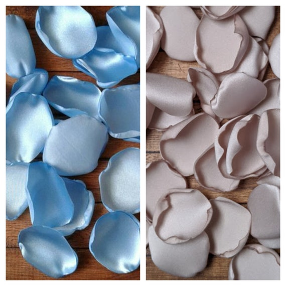Teddy bear baby shower, baby boy baby shower, table decor, party decorations, rose petals, Blue rose petals, Taupe rose petals.