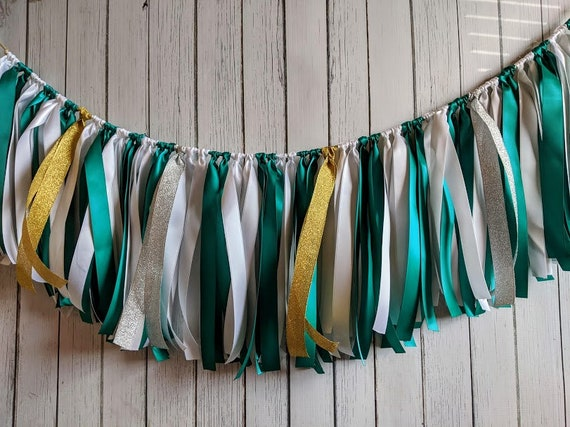 Green and White  garland, ribbon garland, wedding decorations, ribbon garland backdrop, safari baby shower, party decor, wild one birthday.