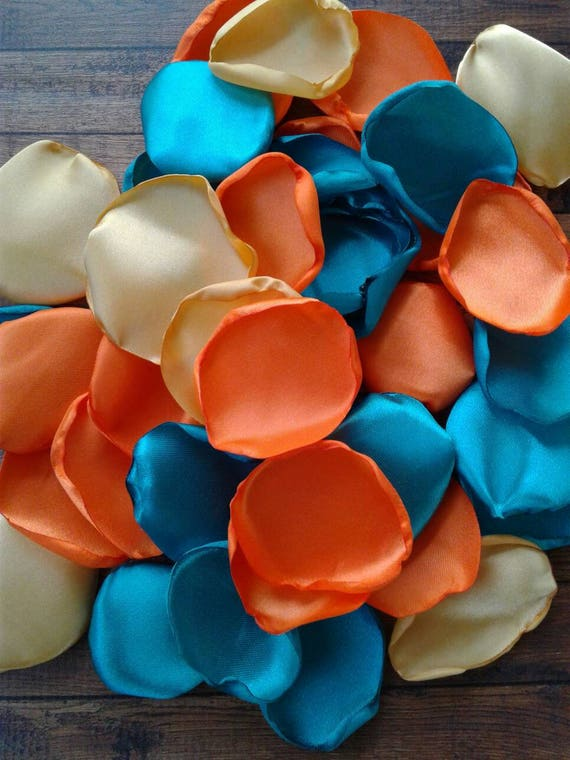 Birthday party decor, Turquoise and Orange, gold flower petals, table centerpieces, wedding decorations, birthday party decorations.