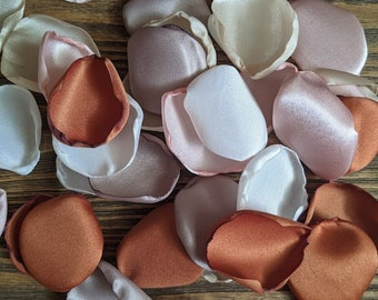 Terracotta and taupe wedding decorations, copper, blush and champagne table decor, flower girl petals, desert rustic boho wedding, woodland.