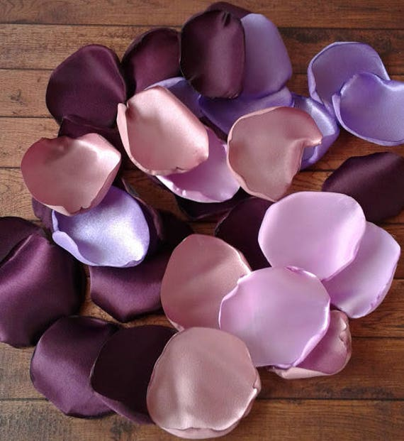 Eggplant wedding, Eggplant rose petals, Mauve rose petals, Lavender rose petals, Lilac rose petals, wedding table decorations, petals.