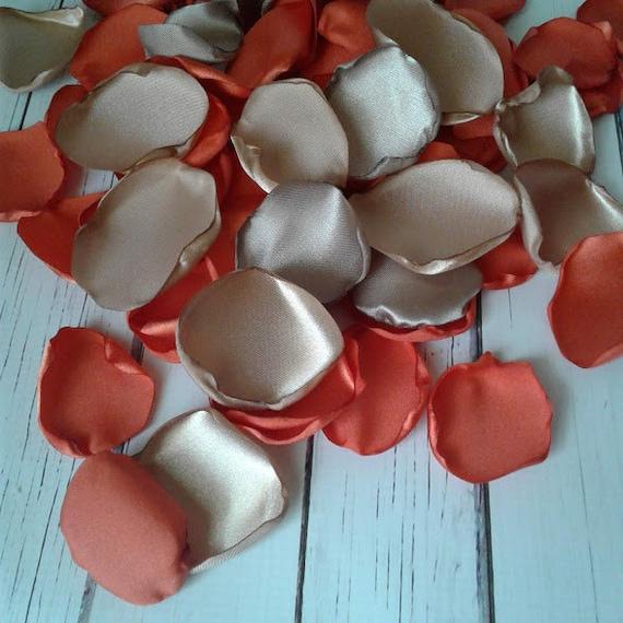 Burnt Orange wedding, Taupe wedding, Taupe rose petals, flower petals, Fall wedding decor, Fall bridal shower, Fall in love decorations.