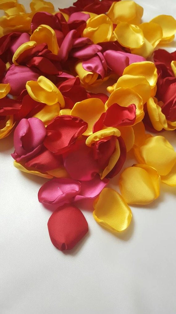 Yellow Pink and Red rose petals Fiesta baby shower bridal  Mexican party decor wedding tropical baby girl toss centerpieces confetti tables.