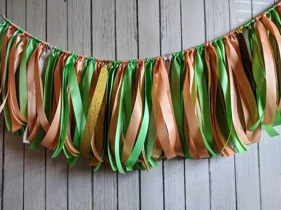 Mint and Peach garland, ribbon garland, wedding decorations, ribbon garland backdrop, bridal shower decor, party decor, party banner.