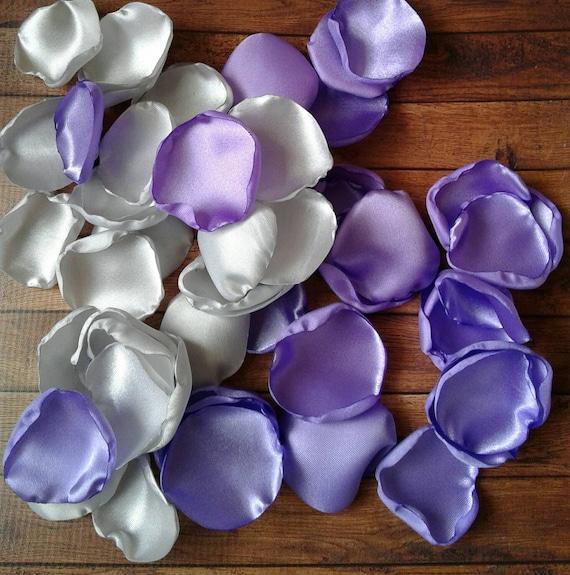 Lilac rose petals, silver rose petals, lilac wedding, silver wedding, wedding decor, wedding petals, flower girl petals, rose petals, fake.