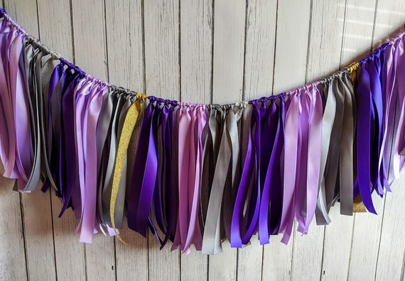 Purple,Lilac and Gray garland, ribbon garland, wedding decorations, ribbon garland backdrop, purple baby shower, party decor, banner.