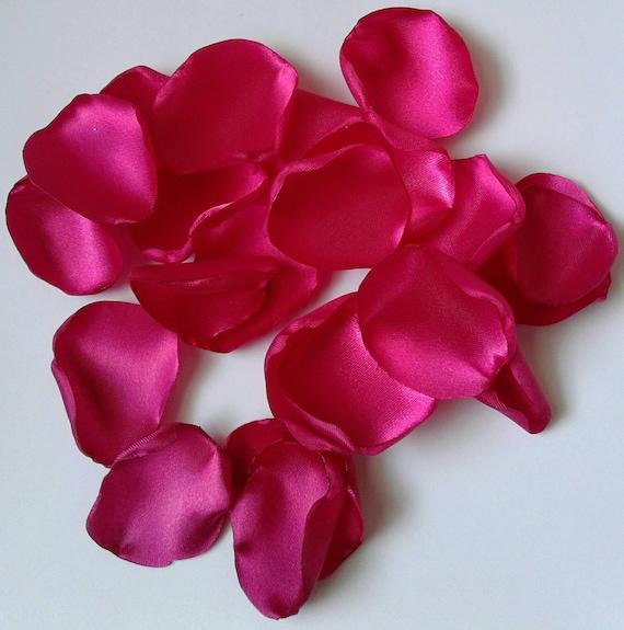 Bridal shower, Fuschia rose petals, satin rose petals, rose petals, Fuschia wedding, scatter petals, wedding petals, flower girl petals.
