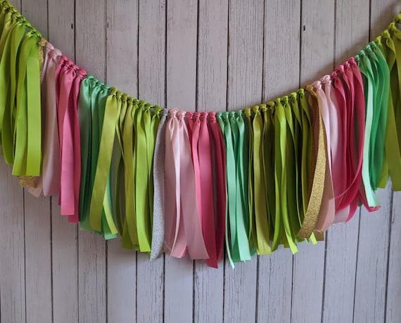 Cactus garland, taco bar, ribbon garland, party garland, shower, high chair banner, bridal shower decor, fiesta engagement, birthday party.