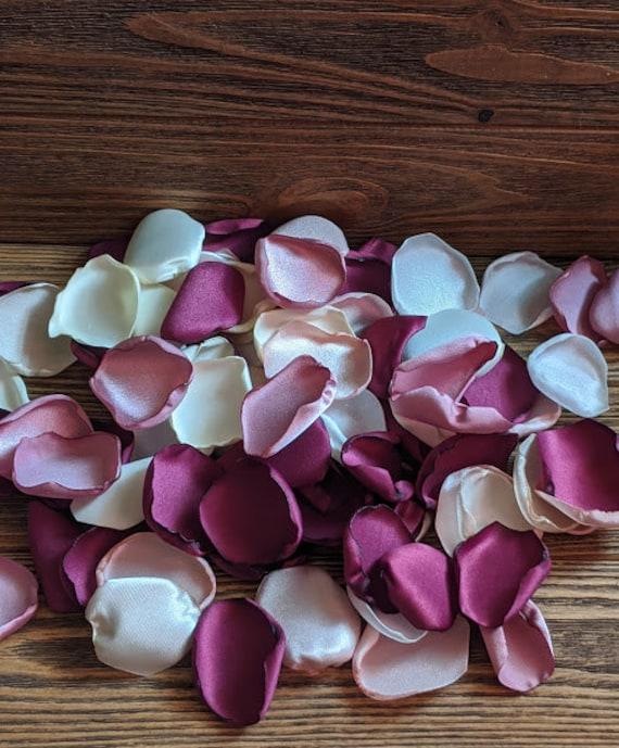 Mulberry wedding, Mauve rose petals, Cream, ivory,blush pink wedding flowers, wedding decor, centerpieces, fall wedding, flower girl basket.