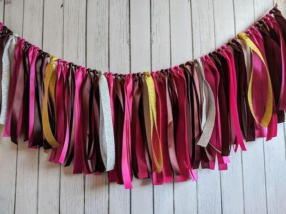 Magenta and Burgundy garland, ribbon garland, wedding decorations, ribbon garland backdrop,  party decor, high chair banner, bridal shower.
