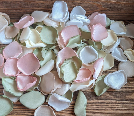 Sage and blush wedding decor, organic wedding, greenery wedding, rustic wedding, rose petals, flower girl baskets, centerpieces, vase filler