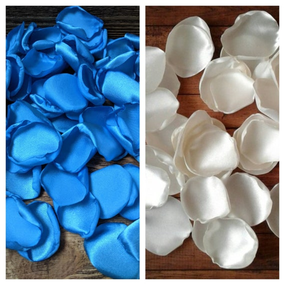 Turquoise and Ivory rose petals wedding decor bridal shower decorations baby boy aisle runner centerpieces toss confetti scatter party.