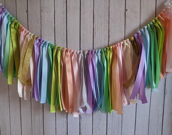 Ice cream garland, rainbow party, pastel party decorations, wedding ribbon banner, ribbon banner, ribbon garland, ribbon backdrop.