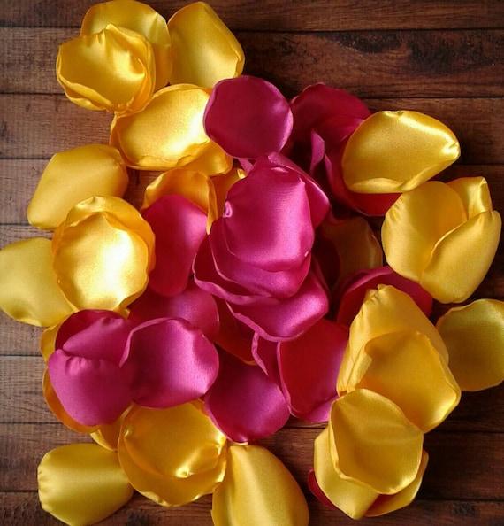 Pink rose petals, bright pink petals, yellow petals, yellow rose petals, yellow wedding decor, wedding decor, wedding petals, petals,diy.