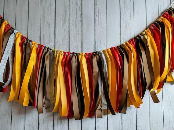 Brown, Red and Yellow garland, ribbon garland,rustic wedding decorations, ribbon garland backdrop, fall garland, party decor, fall banner.
