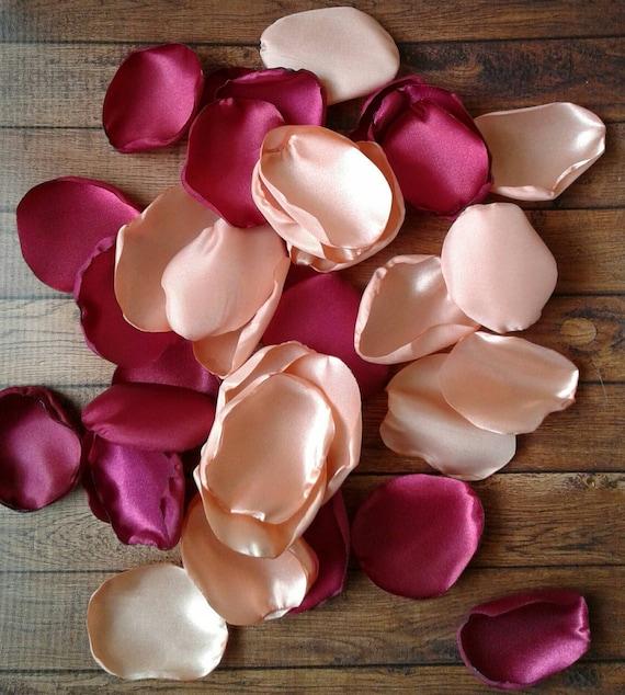 Burgundy rose petals, Peach rose petals, rose petals, burgundy wedding, wedding decoration, peach wedding, satin rose petals, fake petals.