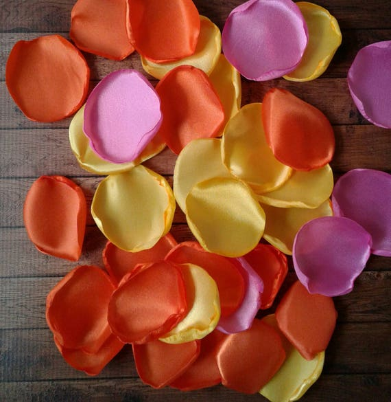 Orange Pink and Yellow rose petals Rubber duck baby shower ducky duckies party table decorations supplies summer bridal shower flower toss.