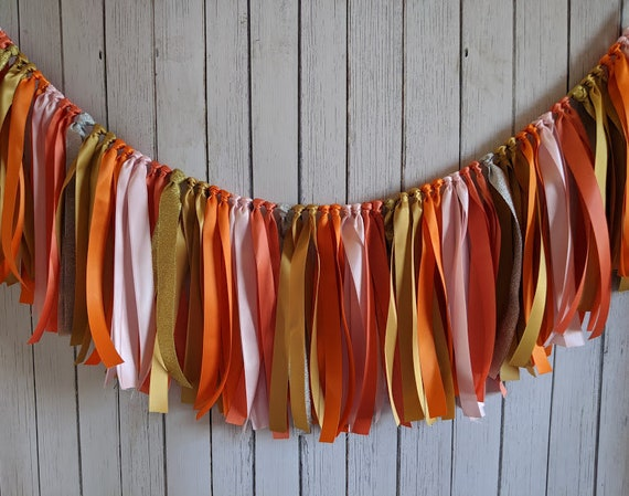 Tropical ribbon garland, party garland, ribbon banner, sweet coral party, our little pumpkin, 1st birthday, high chair banner, baby shower.
